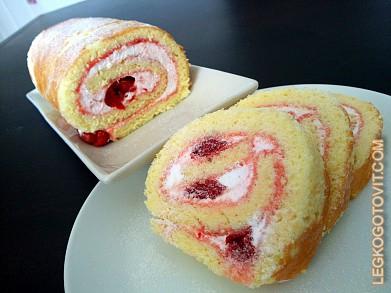 Рецепт бисквитного рулета с кремом из сливок с фото