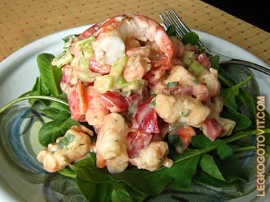 салат нежный рецепт с фото с креветками